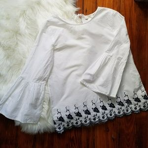 Loft White Top with floral embroidery.